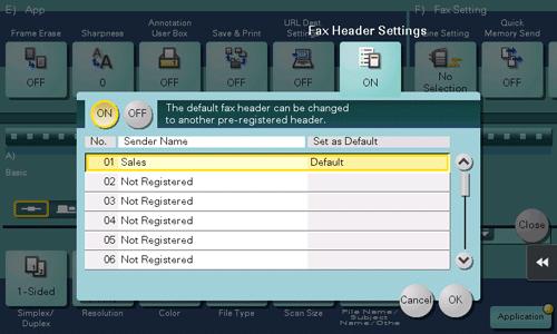 fax header settings descriptions of functions utility keys